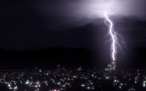 Rendering, Blender, lightning, night, city