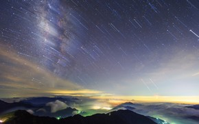 sky, night, Star, view, survey, Mountains, Hills, clouds