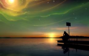 man, muse, radiance, lake, sunset