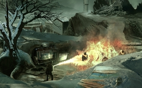 people, flamethrower, flame, snow, building, tree, machine