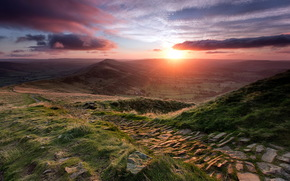 sunset, Mountains, landscape