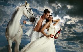 woman, man, horse, white, Eva Mendes, Campari, actress