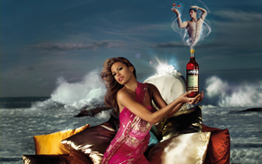 woman, man, genie, bottle, Eva Mendes, Campari, actress, sea, pillows