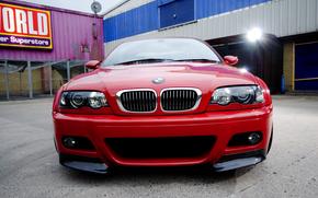 бмв, красный, передок, задний двор, прожектор, BMW