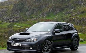 Subaru, Impreza, EsTiAy, Verse, Japan, Aegliya, English version, gray, road, Casting, alloy wheels, Mountains, nature, subaru