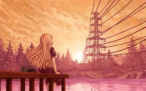 Art, girl, berth, wharf, back, lap, Wire, sunset, Trees