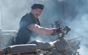 Sylvester Stallone, motorcycle, muzhik, actor