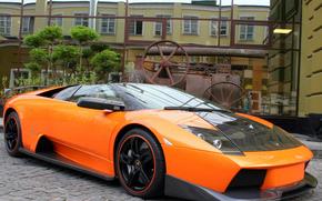 ламбо, мурчелаго, тюнинг, роадстер, вид спереди, передний спойлер, здание, Lamborghini