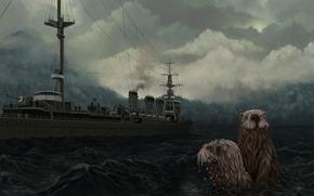 арт, море, морские, котики, животные, корабль, волны, тучи, пасмурно