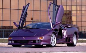 диабло, тюнинг, фиолетовая, ламбо, двери, здание, Lamborghini