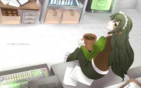 арт, девушка, склад, сидя, горшок, растение, росток