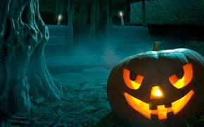 Halloween, pumpkin, Candles, porch, tree, dusk, grin