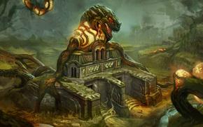 арт, храм, монстр, страж, корни, лес, заросли