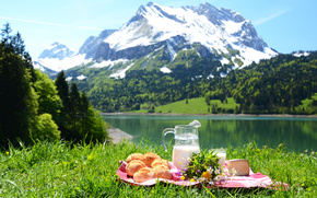гора, снег, трава, зелень, салфетка, кувшин, молоко, булочки, сыр, цветы