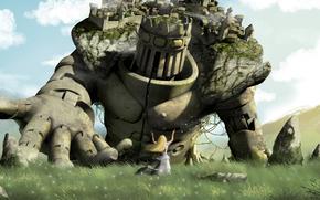 прт, гигант, колосс, город, голем, девушка, холм, трава, камни, облака