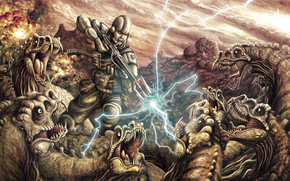 soldier, armor, rifle, lightning, surrounded by, Dinosaurs, battle