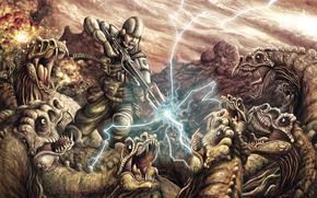 soldado, armadura, rifle, relmpago, rodeado por, Dinosaurios, batalla