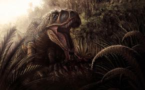 giungla, dinosauro, fauci, canini, sangue