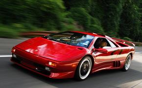 красная, диабло, движение, дорога, Lamborghini