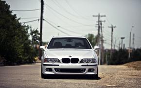 BMW, argento, vista frontale, linea elettrica, Pilastri, cielo, BMW
