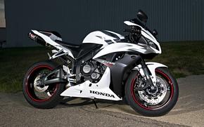 хонда, белый, чёрный, мотоцикл, супер спорт, Мотоциклы