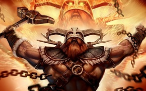 gnome, beard, chain, hammer, rage