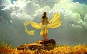 арт, девушка, камень, небо, облака, ткань, ветер, трава, желтая, осень