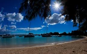 Mauritius, ocean, lagoon, Boat, Yacht, boats, beach