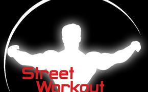 sw, street workout, logo vorkaut, workout on a black background