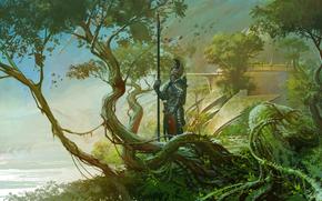 арт, природа, рыцарь, страж, оружие, копьё, доспех, деревья, река