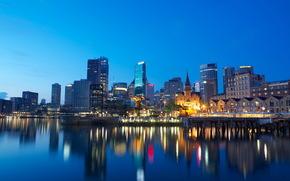 night, wharf, city