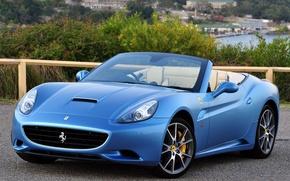 car, wallpaper, Ferrari, California, Blue, Cabriolet, Beautiful, machine, Ferrari