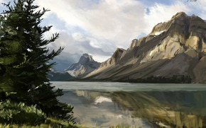 Art, nature, Mountains, river, lake, water, Trees, spruce, needles