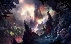 Arte, paesaggio, Rocks, Montagne, pietre, torre, uomo, viandante, Pianeta, Fantasy World