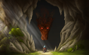 Arte, grotta, drago, mouse, mouse, arma, albero, sole