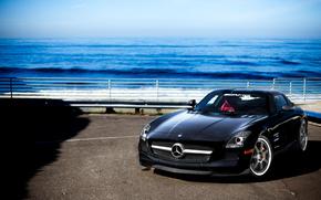 Mercedes Benz, SLS AMG, negro, carretera, golpear, mar, cielo, Mercedes
