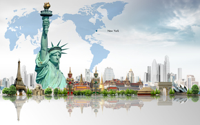 Statue of Liberty, Skyscrapers, map, Trees, Eiffel Tower, building
