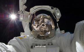 astronaute, rflexion, autoportrait, Espace, terre, soleil, rayons