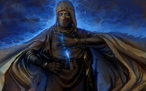 Art, man, cloak, magic, Lightning, knife, weapon, hood, eyes
