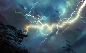 mage, lightning, energy, aircraft, clouds, break