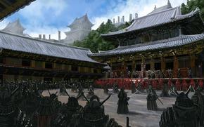 Art, Asia, temple, samurai, people, Warrior, weapon, armor, yard, army, training