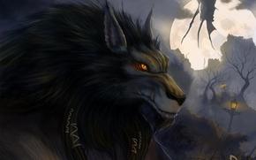 Arte, noite, licantropo, lobisomem, lobo, lua, monstro, asas, ser, lanterna, nevoeiro