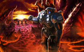 planet, Zerg, infantry, Power Armor, weapon