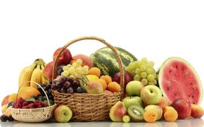 basket, fruit, watermelon, grapes, apples, peaches, pears, kiwi, Berries, raspberry, blueberries, bananas, oranges