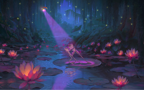 disney, notte, semaforo, Fireflies, fiori di loto, cartone animato