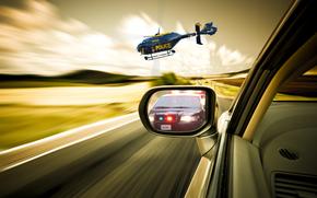 classico, inseguimento, gara, elicottero