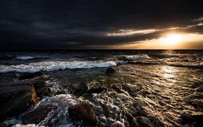 sea, night, nature