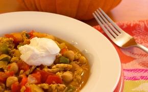 turkey pumpkin chili, chili, food