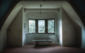 room, attic, Bath, window, web, abandonment, doll, bulb