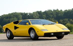 Lamborghini, kountach, yellow, Trees, Lamborghini
